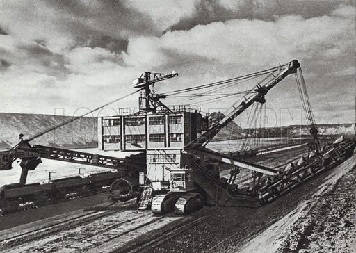Mining iron ore at the Kamysh-Burunsky mine in the Crimea. Illustration for Glimpses of the USSR its Economy and Geography by Nikolai Mikhailov (Foreign Languages Publishing House, Moscow, 1960).