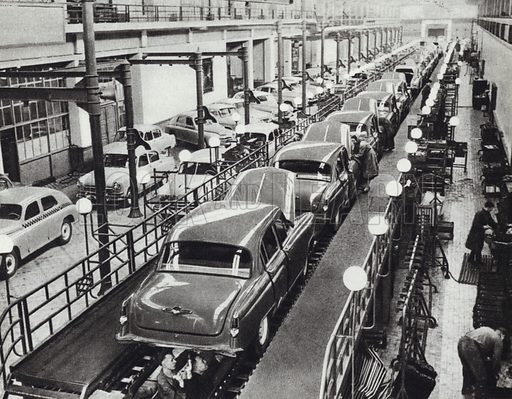 """""""Volga"""" cars on the conveyer belt at the Gorky Auto Works. Illustration for Glimpses of the USSR its Economy and Geography by Nikolai Mikhailov (Foreign Languages Publishing House, Moscow, 1960)."""