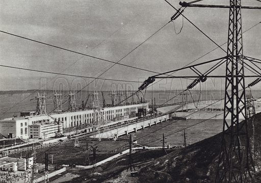 The Lenin Hydroelectric Power Station on the Volga near Kuibyshev. Illustration for Glimpses of the USSR its Economy and Geography by Nikolai Mikhailov (Foreign Languages Publishing House, Moscow, 1960).