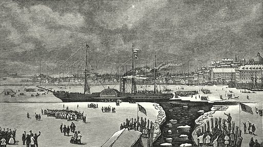 """The ice-bound """"Britannia"""" at Boston. Illustration for Great Works by Great Men, the Story of Famous Engineers and their Triumphs by F M Holmes (S W Patridge, c 1914)."""