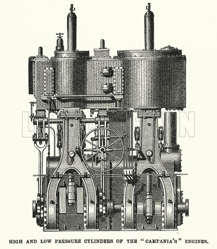 """High and low pressure cylinders of the """"Campania's"""" engines. Illustration for Great Works by Great Men, the Story of Famous Engineers and their Triumphs by F M Holmes (S W Patridge, c 1914)."""