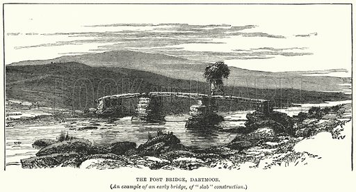 The Post Bridge, Dartmoor. Illustration for Great Works by Great Men, the Story of Famous Engineers and their Triumphs by F M Holmes (S W Patridge, c 1914).