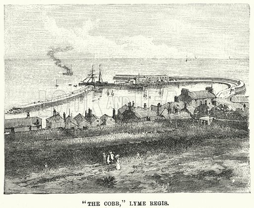 """""""The Cobb,"""" Lyme Regis. Illustration for Great Works by Great Men, the Story of Famous Engineers and their Triumphs by F M Holmes (S W Patridge, c 1914)."""
