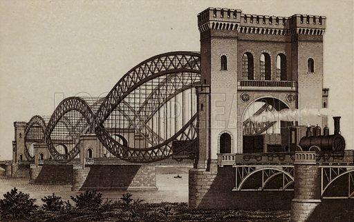 Eisenbahn-Elb-Brucke, The Railroad Bridge across the Elbe. Illustration for souvenir booklet about Hamburg, c 1890.