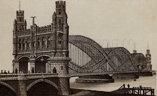 Neue Elb-Brucke, New Bridge over the Elbe. Illustration for souvenir booklet about Hamburg, c 1890.