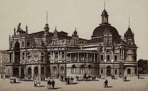 Concerthaus, Concert-House. Illustration for souvenir booklet about Hamburg, c 1890.