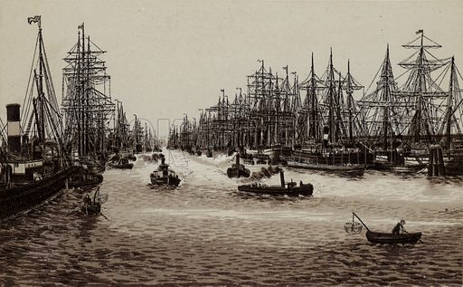 Hafen, The Harbour. Illustration for souvenir booklet about Hamburg, c 1890.