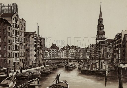 Reimers-Fleet, Reimers Fleet. Illustration for souvenir booklet about Hamburg, c 1890.