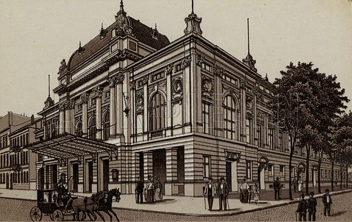 Deutsches Schauspielhaus, The German Theatre. Illustration for souvenir booklet about Hamburg, c 1890.