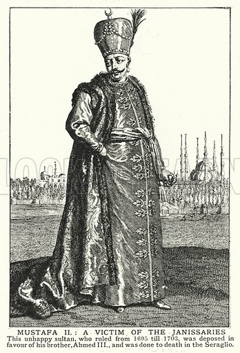 Mustafa II, a victim of the Janissaries. Illustration for an edition of the Harmsworth History of the World, c 1910.