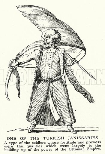 One of the Turkish Janissaries. Illustration for an edition of the Harmsworth History of the World, c 1910.