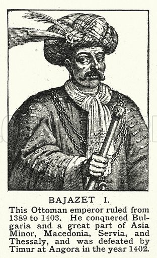 Bajazet I. Illustration for an edition of the Harmsworth History of the World, c 1910.
