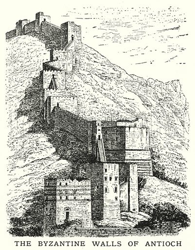 The Byzantine walls of Antioch. Illustration for an edition of the Harmsworth History of the World, c 1910.