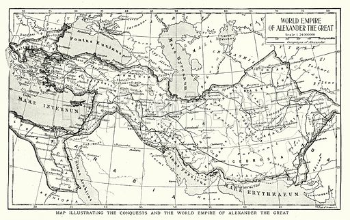 Map illustrating the conquests and the world empire of Alexander the Great. Illustration for an edition of the Harmsworth History of the World, c 1910.