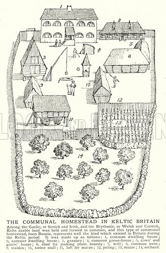 The communal homestead in Keltic Britain. Illustration for an edition of the Harmsworth History of the World, c 1910.