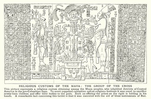 Religious customs of the Maya, the group of the Cross. Illustration for an edition of the Harmsworth History of the World, c 1910.