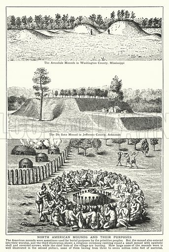 North American mounds and their purposes. Illustration for an edition of the Harmsworth History of the World, c 1910.