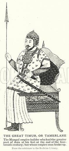 The Great Timur, or Tamerlane. Illustration for an edition of the Harmsworth History of the World, c 1910.