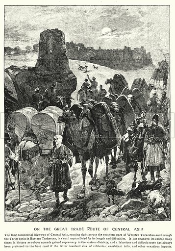 On the great trade route of Central Asia. Illustration for an edition of the Harmsworth History of the World, c 1910.
