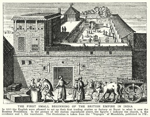 The first small beginning of the British Empire in India. Illustration for an edition of the Harmsworth History of the World, c 1910.