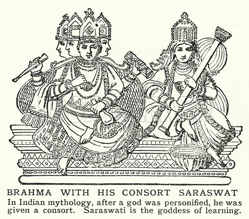 Brahma with his consort Saraswat. Illustration for an edition of the Harmsworth History of the World, c 1910.