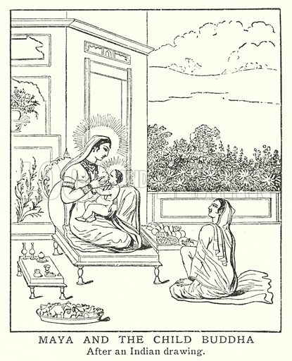 Maya and the child Buddha. Illustration for an edition of the Harmsworth History of the World, c 1910.