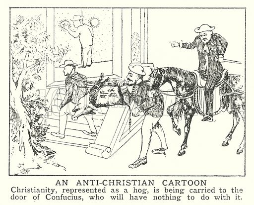 An anti-Christian cartoon. Illustration for an edition of the Harmsworth History of the World, c 1910.