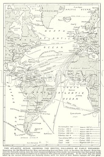 The Atlantic Ocean, showing the routes followed by early voyagers. Illustration for an edition of the Harmsworth History of the World, c 1910.
