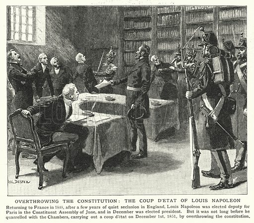 Overthrowing the constitution, the coup d'etat of Louis Napoleon. Illustration for an edition of the Harmsworth History of the World, c 1910.