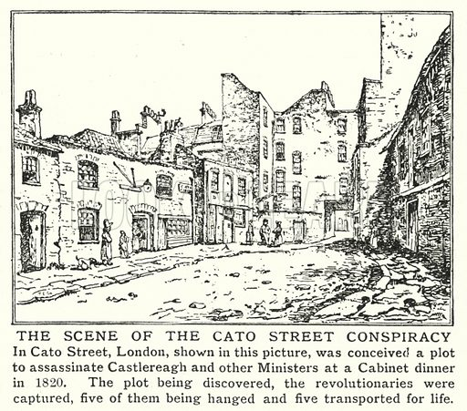 The scene of the Cato Street Conspiracy. Illustration for an edition of the Harmsworth History of the World, c 1910.