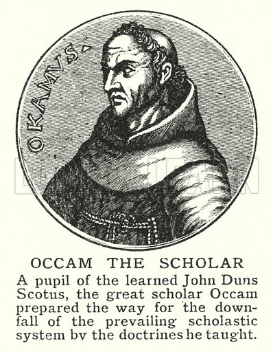 Occam the Scholar. Illustration for an edition of the Harmsworth History of the World, c 1910.