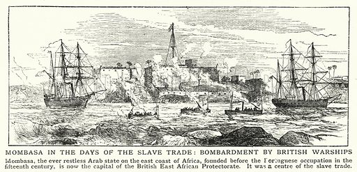 Mombasa in the days of the slave trade, bombardment by British warships. Illustration for an edition of the Harmsworth History of the World, c 1910.