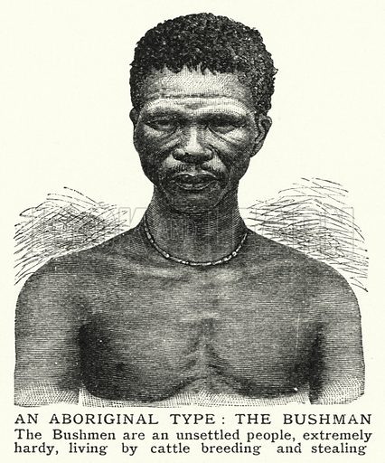 An Aboriginal type, the Bushman. Illustration for an edition of the Harmsworth History of the World, c 1910.