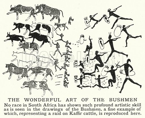 The wonderful art of the Bushmen. Illustration for an edition of the Harmsworth History of the World, c 1910.