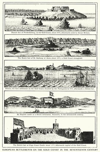 European settlements on the Gold Coast in the seventeenth century. Illustration for an edition of the Harmsworth History of the World, c 1910.