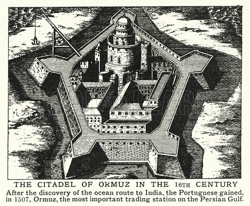 The citadel of Ormuz in the 16th century. Illustration for an edition of the Harmsworth History of the World, c 1910.