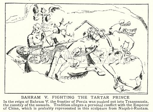 Bahram V fighting the Tartar Prince. Illustration for an edition of the Harmsworth History of the World, c 1910.