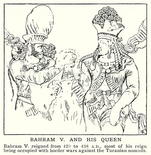 Bahram V and his queen. Illustration for an edition of the Harmsworth History of the World, c 1910.