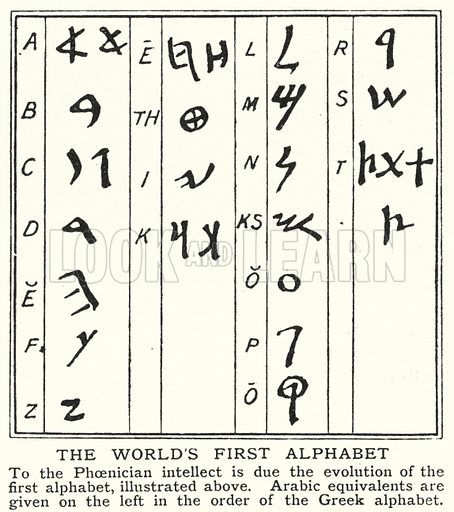 The world's first alphabet. Illustration for an edition of the Harmsworth History of the World, c 1910.