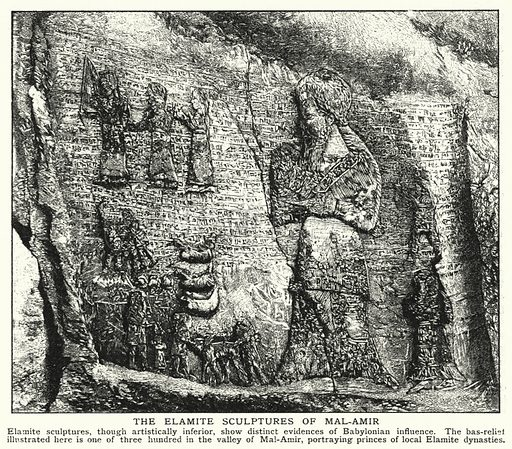 The Elamite sculptures of Mal-Amir. Illustration for an edition of the Harmsworth History of the World, c 1910.
