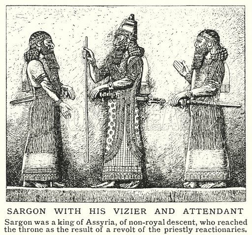Sargon with his vizier and attendant. Illustration for an edition of the Harmsworth History of the World, c 1910.