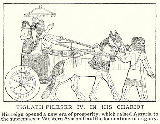 Tiglath-Pileser IV in his chariot. Illustration for an edition of the Harmsworth History of the World, c 1910.