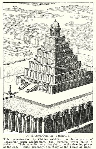 A Babylonian temple. Illustration for an edition of the Harmsworth History of the World, c 1910.