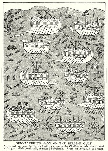Sennacherib's navy on the Persian Gulf. Illustration for an edition of the Harmsworth History of the World, c 1910.