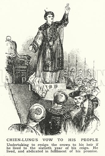 Chien-Lung's vow to his people. Illustration for an edition of the Harmsworth History of the World, c 1910.