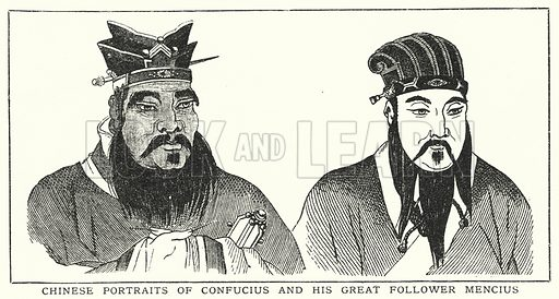 Chinese portraits of Confucius and his great follower Mencius. Illustration for an edition of the Harmsworth History of the World, c 1910.