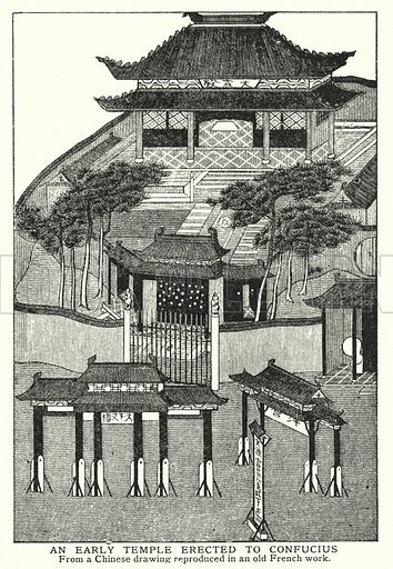 An early temple erected to Confucius. Illustration for an edition of the Harmsworth History of the World, c 1910.