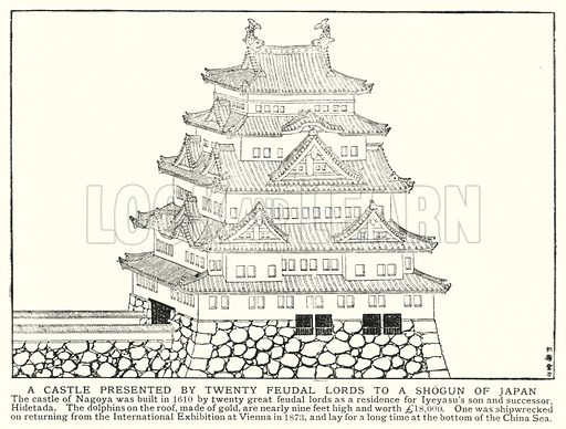 A castle presented by twenty feudal lords to a Shogun of Japan. Illustration for an edition of the Harmsworth History of the World, c 1910.