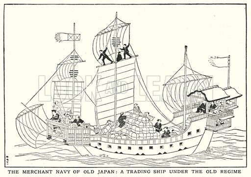 The Merchant Navy of old Japan, a trading ship under the old regime. Illustration for an edition of the Harmsworth History of the World, c 1910.