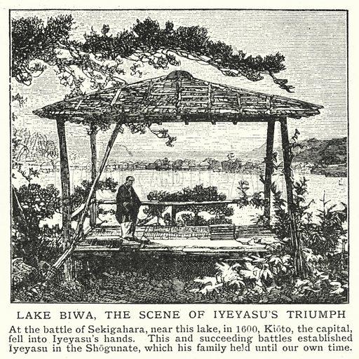 Lake Biwa, the scene of Iyeyasu's triumph. Illustration for an edition of the Harmsworth History of the World, c 1910.